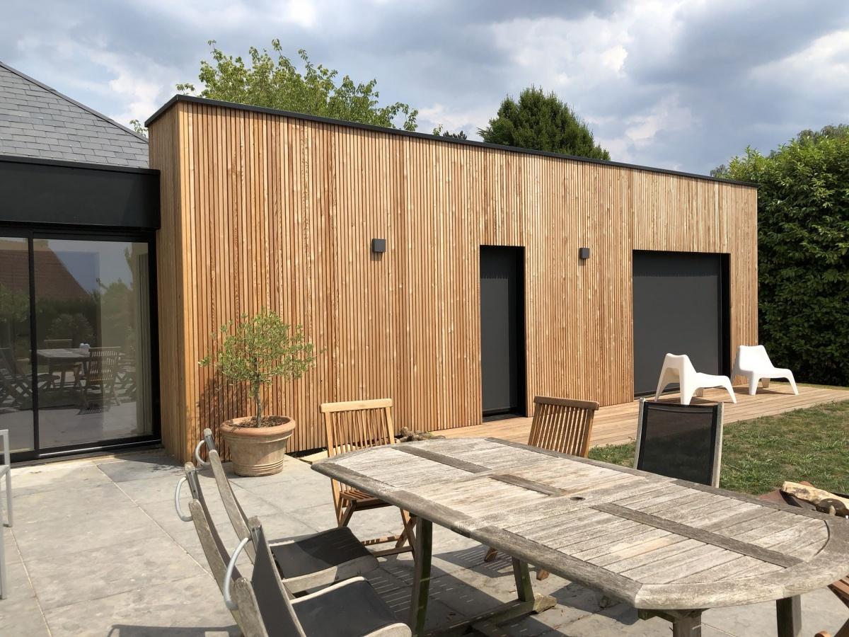Double extension bois d'une maison à Hem : réalisation