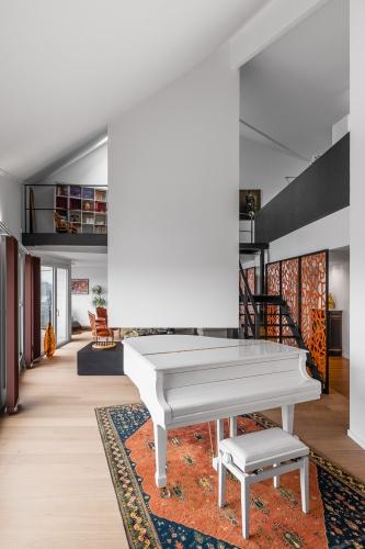 Restructuration complète d'un grand appartement en duplex : architecte lille loft duplex industriel poutre métal parquet cuisine ilot piano décoration intérieur Jean-Philippe AUGUSTO (3)