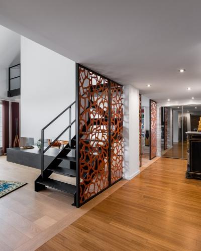 Restructuration complète d'un grand appartement en duplex : architecte lille loft duplex industriel poutre métal parquet cuisine ilot piano décoration intérieur Jean-Philippe AUGUSTO (5)