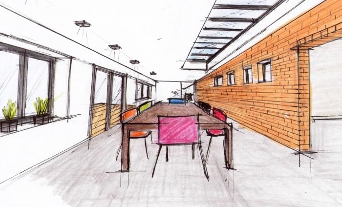 Maison individuelle à Boeschepe (59) : perspective salon