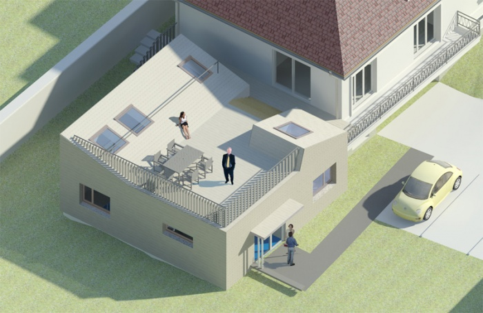 Cabinet para-médical et terrasse en extension d'une maison existante