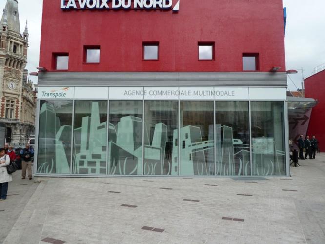 Espace vente pour Transpole : graphisme sur façade