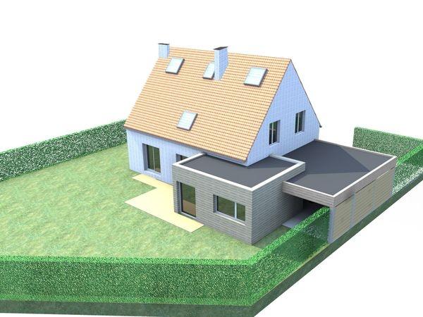 Extension bois d'une maison à Marcq-en-Baroeul. : infographie 2