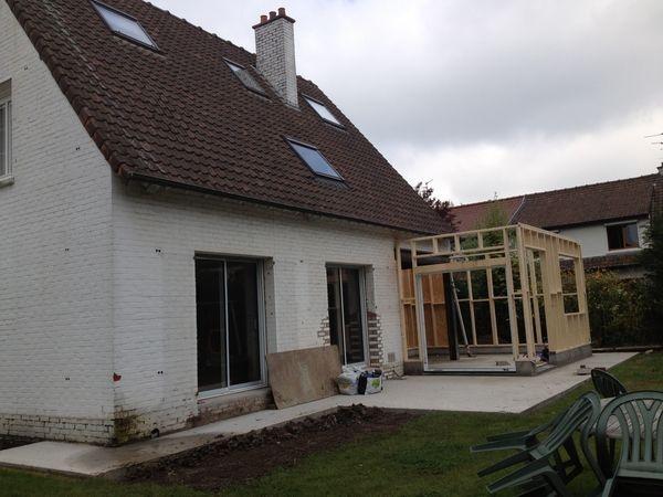 Extension bois d'une maison à Marcq-en-Baroeul. : chantier