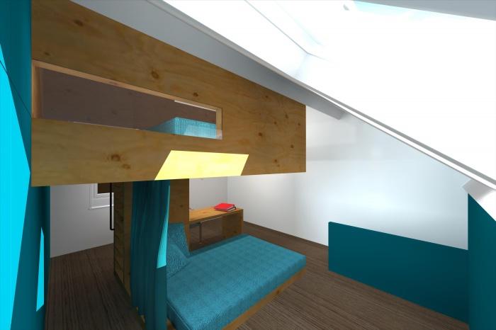 CABANE, aménagement d'une chambre d'enfant, d'un bureau et d'une chambre d'amis sous combles à Villeneuve d'Ascq