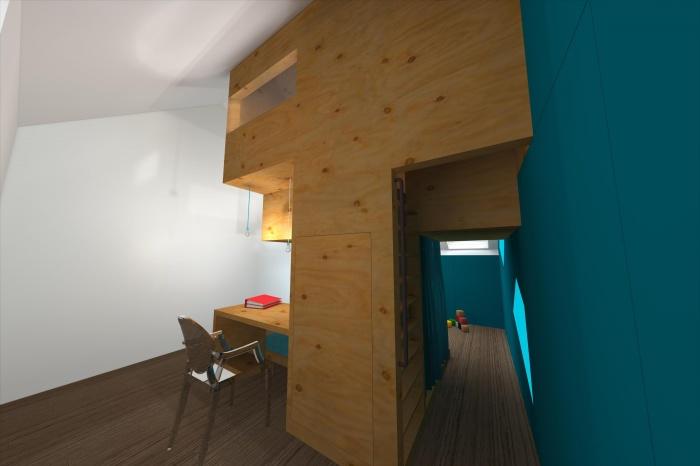 CABANE, aménagement d'une chambre d'enfant, d'un bureau et d'une chambre d'amis sous combles à Villeneuve d'Ascq : SketchUp_4