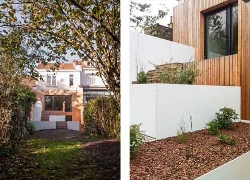 FENÊTRE SUR JARDIN, Réhabilitation et extension d'une maison de ville, aménagement d'une terrasse et des espaces extérieurs à Marcq en Baroeul : DIENTRE_fenetre_sur_jardin_façade01-494x356