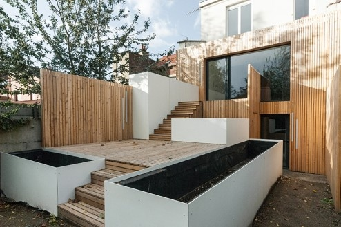 FENÊTRE SUR JARDIN, Réhabilitation et extension d'une maison de ville, aménagement d'une terrasse et des espaces extérieurs à Marcq en Baroeul