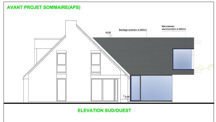 projet d'extension élevation de maison