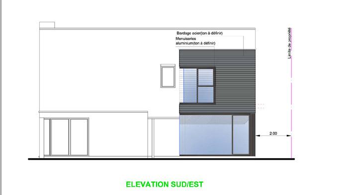 projet d'extension, élévation de maison